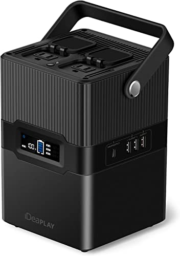 iDeaPLAY Portable Power Station Generator 67500mAh 250Wh Emergency Backup Lithium Power Supply 115V 300W AC Outlets, DC Outputs USB QC3.0, PD, Flashlight, For CPAP Home Travel Camping Outdoors – Black