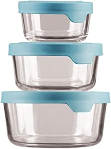 Anchor Hocking TrueSeal Round Glass Food Storage Containers with Airtight Lids, Mineral Blue, Set of 3