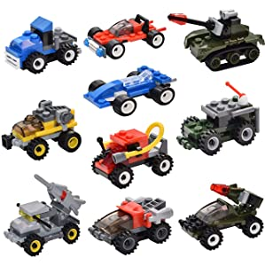Sawaruita Mini Building Bricks Military Vehicles,Compatible Bricks with All Major Brands, for Goodie Bags Kids Prizes Boys Birthday Gift Race Car (10 Pack)