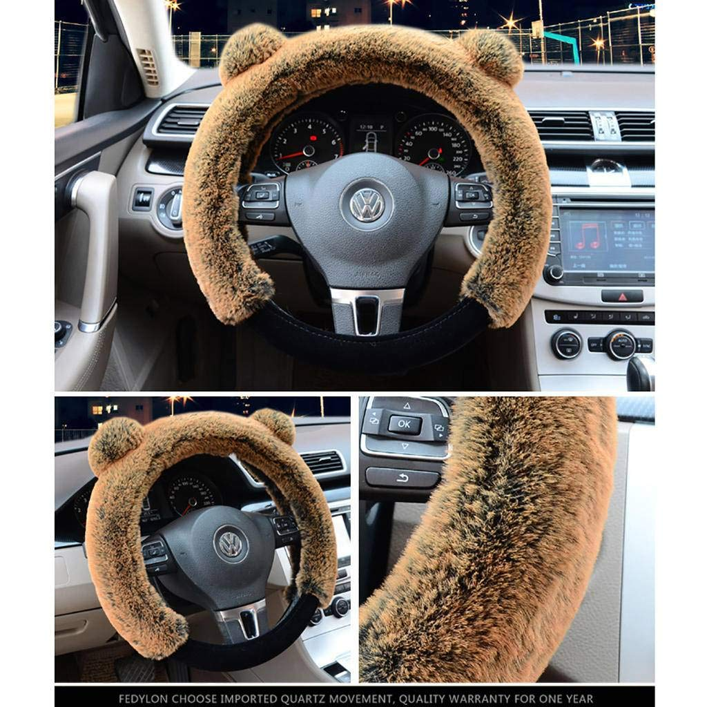 Faux Wool Fluffy Fashion Steering Wheel Cover Ladies//girls//women 15 Inches Suitable for Cars//svu//trucks Brown 38cm Aibingbao Steering Wheel Cover