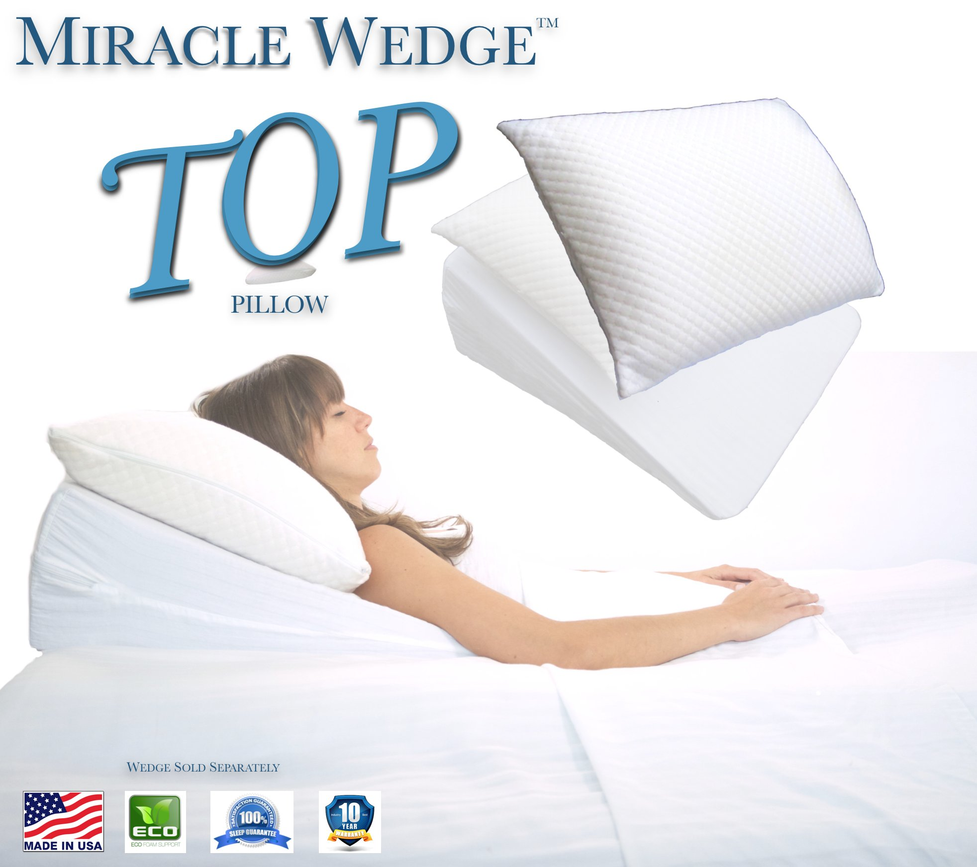 Miracle Wedge Top 18-Inch x 24-Inch x 5.5-Inch Acid Reflux Topper Memory Foam Pillow with Removable Cover