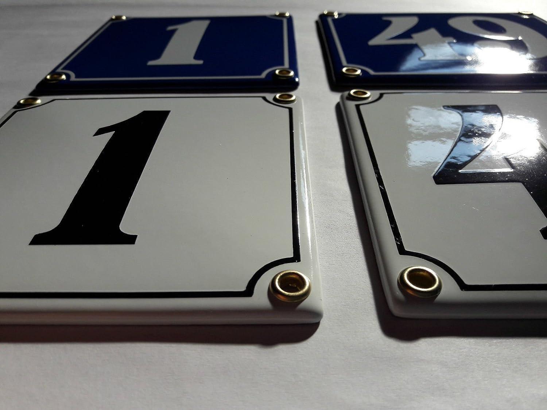 57 Blau-Wei/ßHandarbeit Hausnummer Emaille Schild Nr