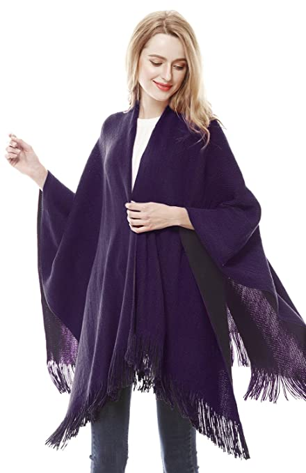 1920s Style Shawls, Wraps, Scarves Lovful Women Winter Warm Cashmere Feel Poncho Capes Scarf Shawl Cardigans Sweater Coat $19.99 AT vintagedancer.com