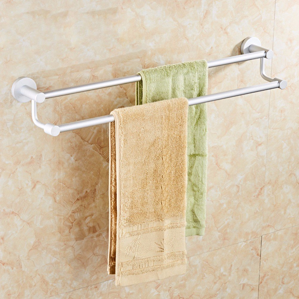 lovely KHSKX Towel rack Towel rack bathroom Towel Bar Towel rack space aluminum bold double rod