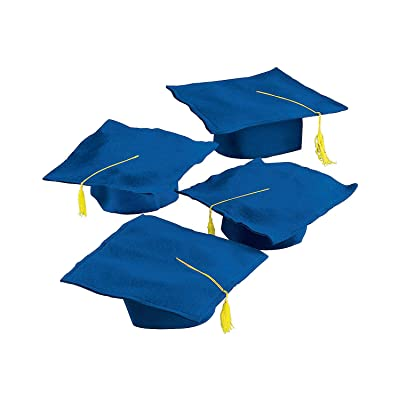 Blue Felt Graduation CAPS - Apparel Accessories - 12 Pieces: Toys & Games