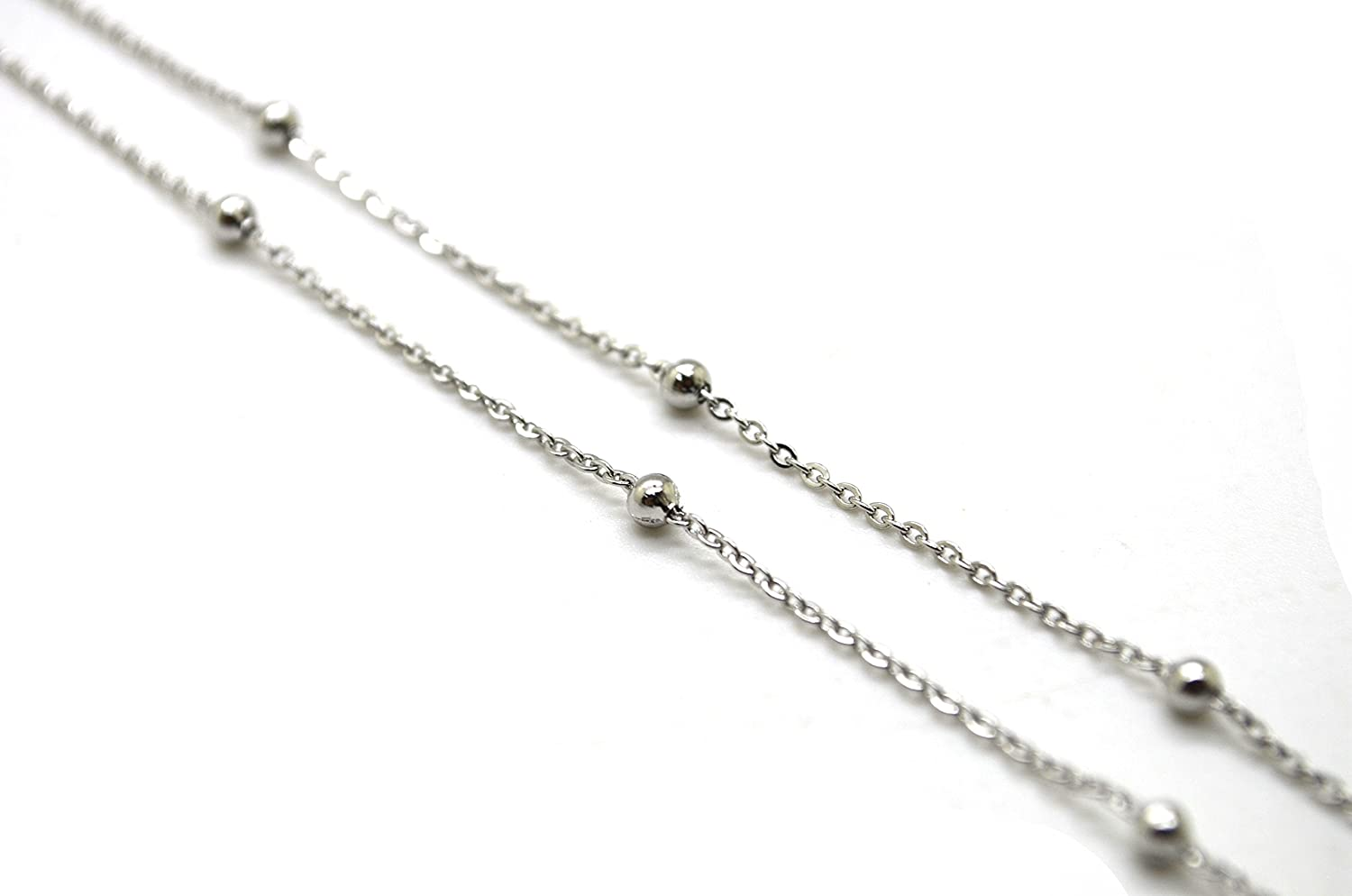 Millardo Jewelry Basic Collections 1.2mm Wide 18K White Gold Ultra Thin Cable Chain With Beads Chain Necklace 18K White Gold - 22 Inches