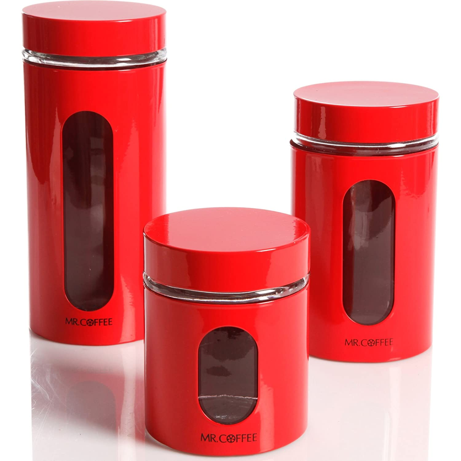 amazon com kitchen food storage glass canister mr coffee java bar amazon com kitchen food storage glass canister mr coffee java bar by gibson 3 piece set red kitchen dining