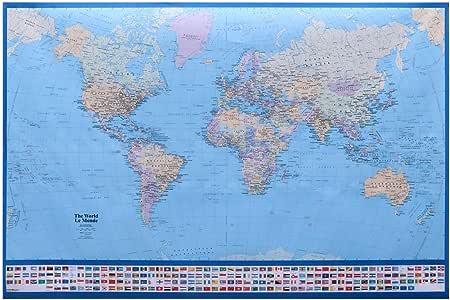 UKCOCO Mapa del Mundo Gigante Póster Mapa Decorativo del Mundo ...