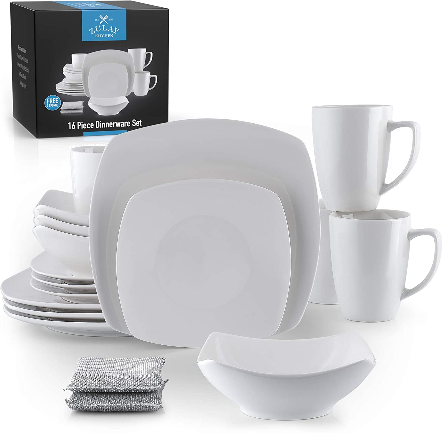 Zulay (16 Piece) Square Dinnerware Sets -Premium Quality Porcelain Plates Set & Dishes Set - Service For 4 Dishware Sets With 4 Plates, 4 Side Plate, 4 Soup Bowl, 4 Square Mug & 2 Silver Sponges