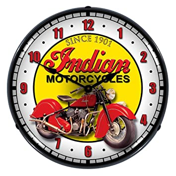 motorcycle lighted wall clock