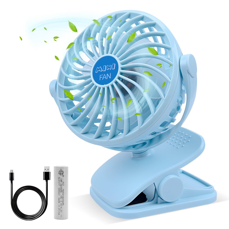 ESEOE Clip on Fan, USB Or 2600mAh Rechargeable Battery Operated Fan Small Desk Fan with 4 Speeds, 360 Degree Rotation Portable Stroller Fan for Baby S (Blue)