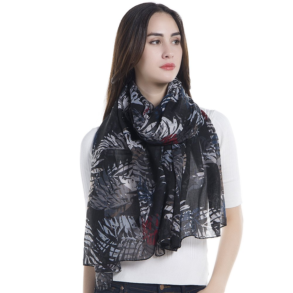 Niaiwei Elegant Floral Print Women Scarf Shawl Black