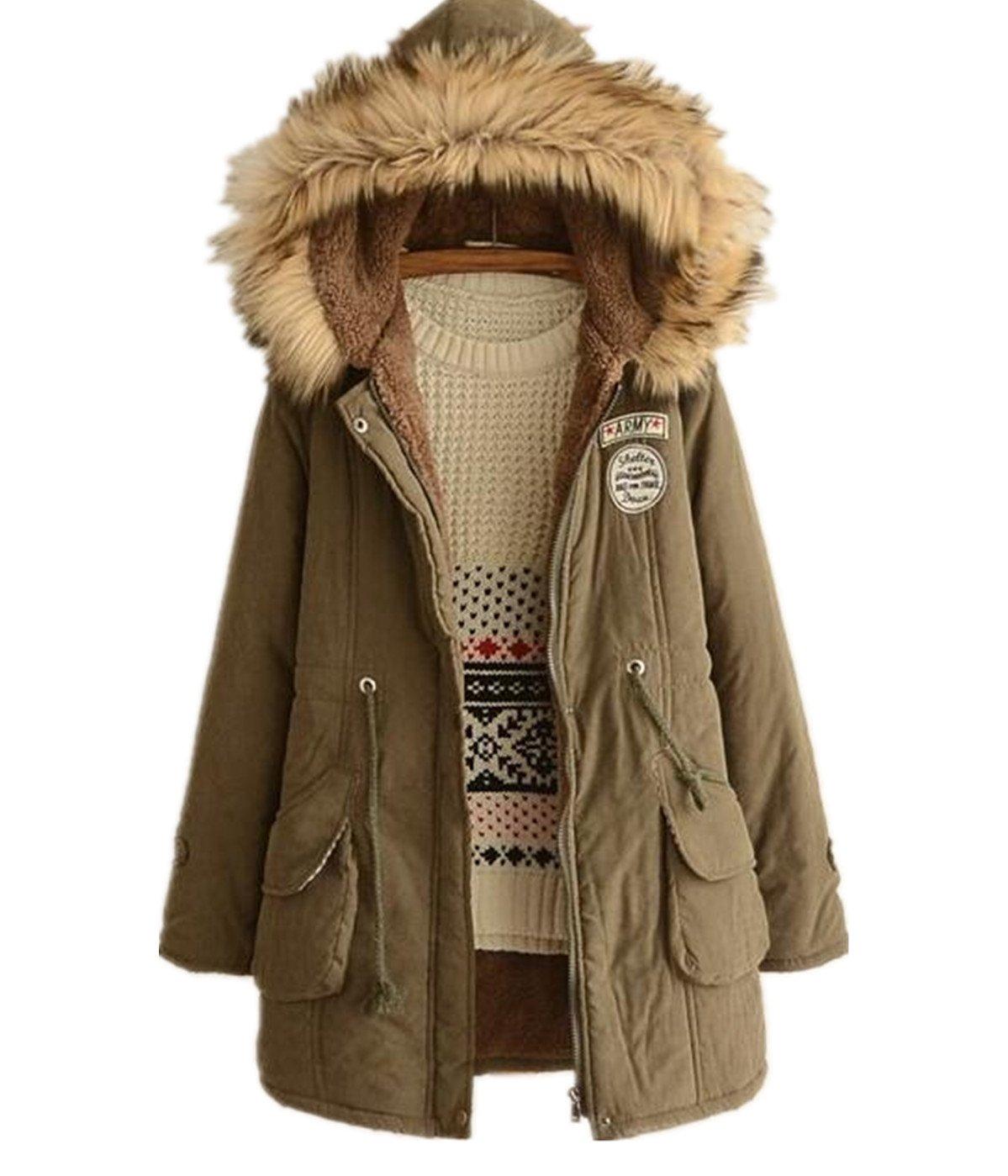 Skirt BL Womens Winter Jacket Casual Thicken Hooded Fleece Lining Zipper Padded Coat Blue