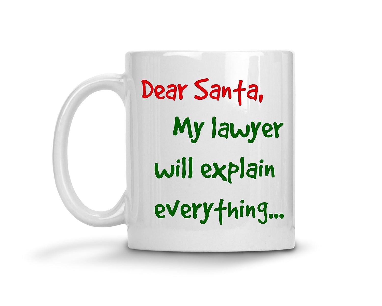 弁護士マグ – Dear Santa弁護士My Will Explainすべて – Attorneyクリスマスコーヒーギフト 11oz GB-1396948-20-White B074S6X4WN ホワイト 11oz