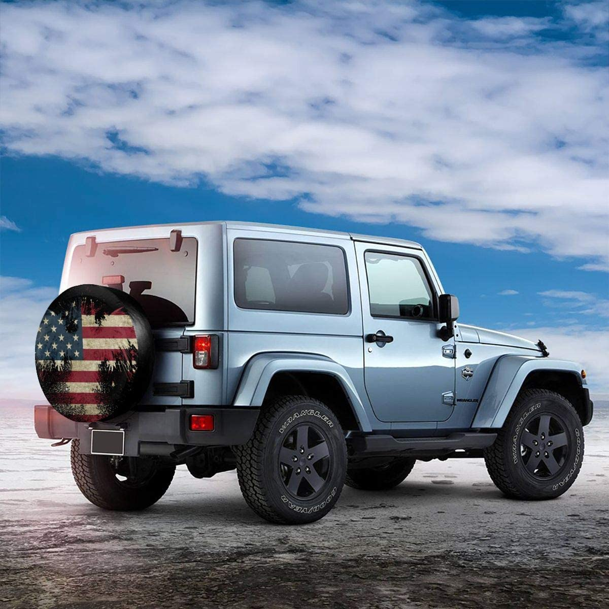 RV SUV and Various Vehicles 14 15 16 17 Inch /… Car Tire Cover Sunscreen Protective Cover Bald Eagle American Flag Water Proof Universal Spare Wheel Tire Cover Fit for Trailer