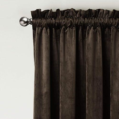 ChadMade Set of 2 Solid Matt Velvet Curtain Panel Drapes Rod Pocket