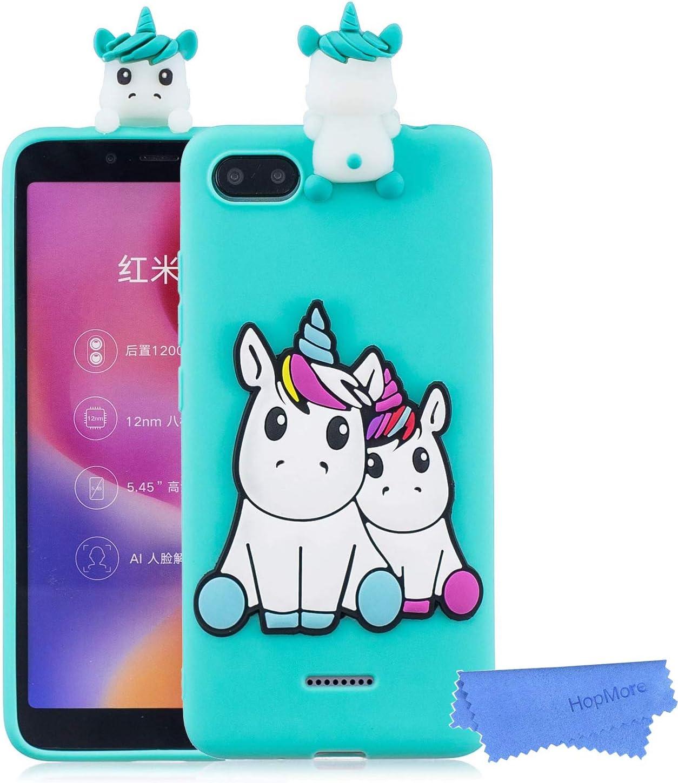 HopMore Funda para Xiaomi Redmi 6A Silicona Dibujo 3D Divertidas Panda Animal Carcasa TPU Ultrafina Case Slim Antigolpes Caso Protección Flexible Cover Design Gracioso - Unicornio Verde