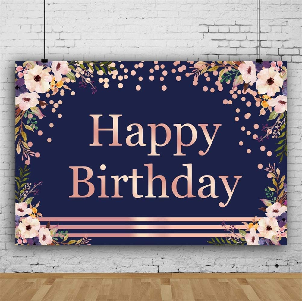 8x6.5ft Happy Birthday Polyester Photography Background Artistic Faded Pink Letters Flowers Corner Spots Lines Black Backdrops Child Baby Girl Birthday Party Banner Cake Smash Studio Photo Props