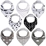 Baby Bandana Drool Bibs , 8 Pack Organic Absorbent Drooling Bibs for Teething Boy Girl , Soft Cotton Drool Bibs for Teething Feeding Unisex Baby Shower Gift Set from GLLQUEN BABY