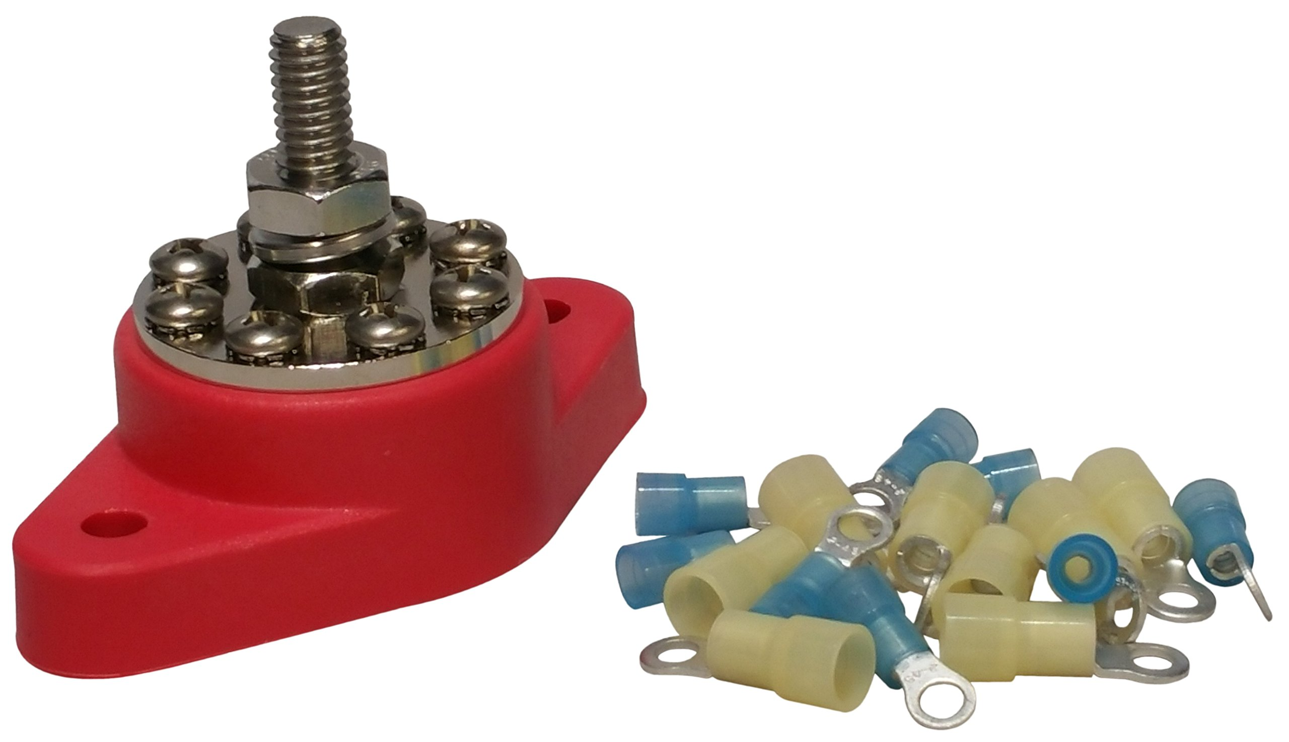 5/16'' (Red) Distribution Stud Junction Post -8 Terminal Block- Buss Bar Kit