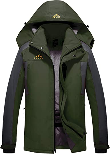 Black,M Mens Mountain Rain Jacket Windproof Insulated Coats Hooded Outdoor Windbreaker for Camping Hiking