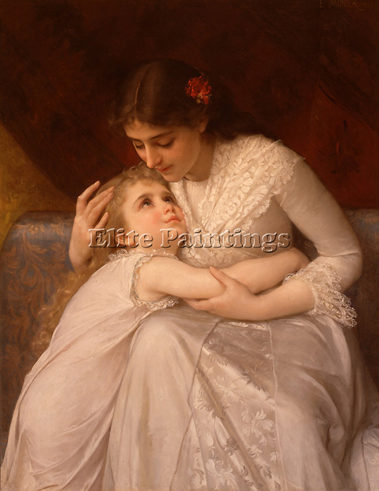 MUNIER 1888 03 PARDON MAMA ARTIST PAINTING HANDMADE OIL CANVAS REPRO ART DECO 32x24inch MUSEUM QUALITY
