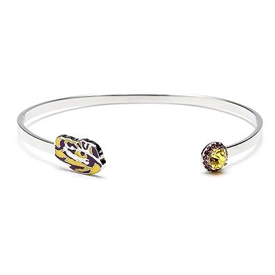 Louisiana State University Bracelet | LSU Tigers Bracelet - Tiger Eye with Crystal | Officially Licensed