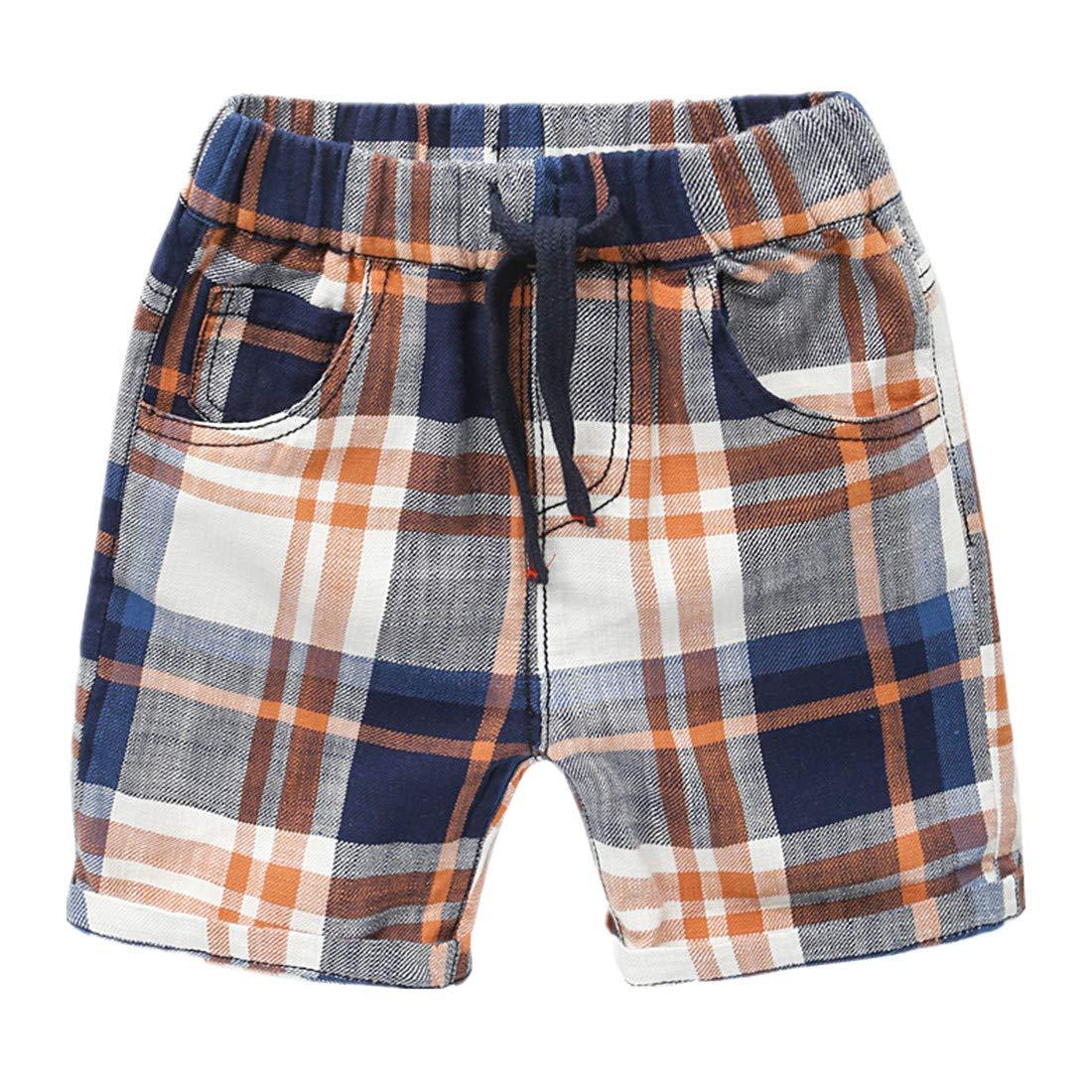 Sooxiwood Little Boys Shorts Plaid Pocket Casual