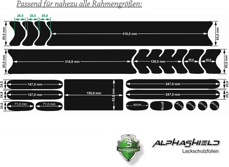 AlphaShield 21 Piece Transparent Paint Protection Film Set Chain Struts Frame Protector Bicycle