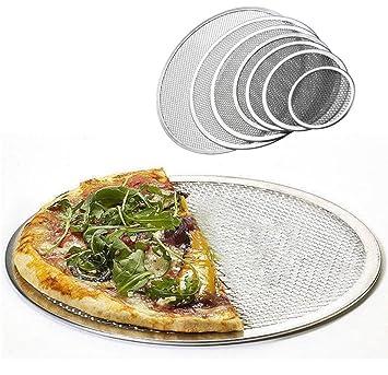 DingSheng - Bandeja de horno para pizza de aluminio sin costuras, con malla de aluminio