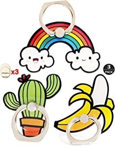 ZOEAST(TM) 3pcs Phone Ring Grip Summer Cloud Cacti Universal 360° Adjustable Holder Car Desk Hook Stand Stent Mount Kickstand Compatible with iPhone X Plus Samsung iPad Tablet (Cactus+Banana+Rainbow)