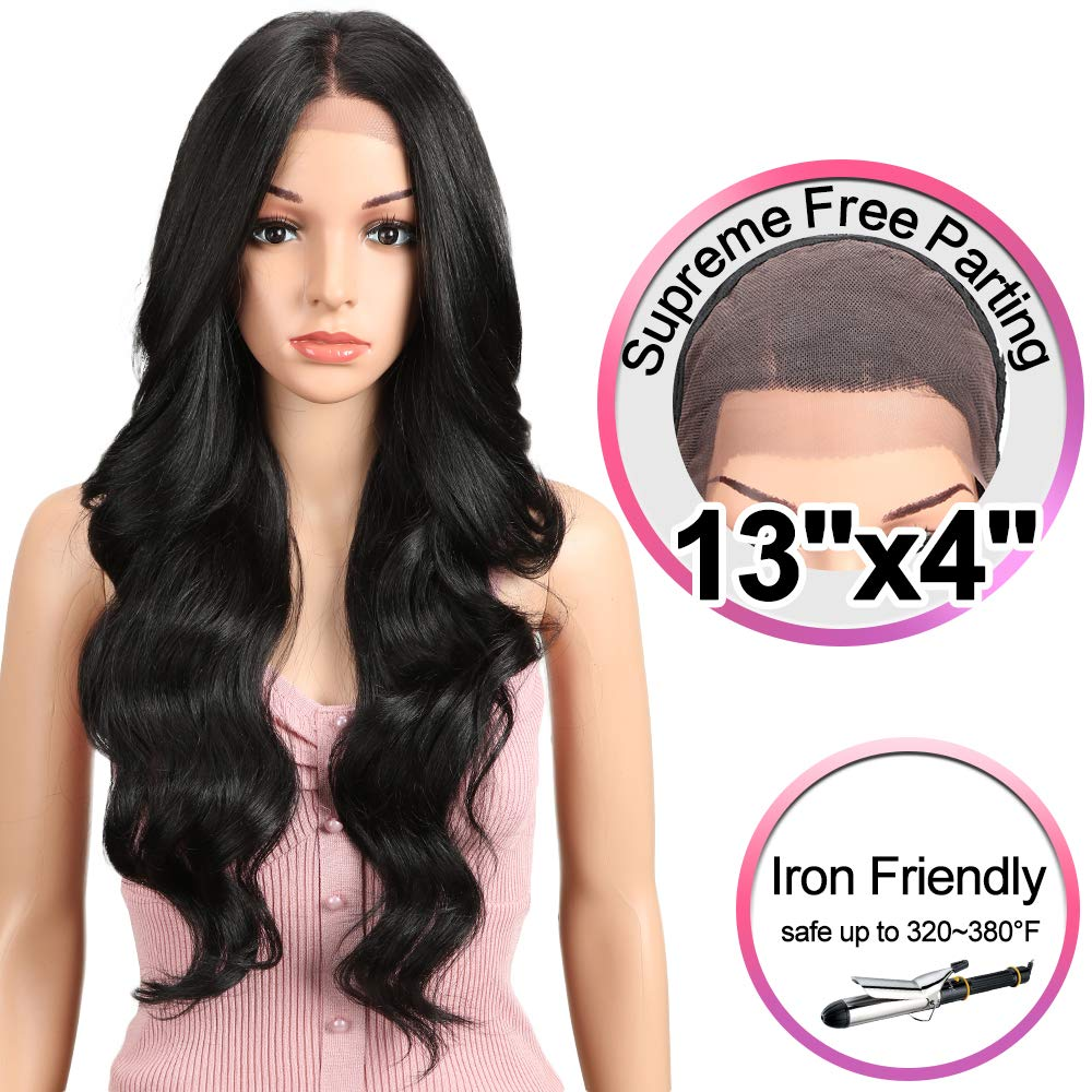 JOEDIR 26'' Big Curly Wavy Supreme Free Parting Lace Frontal Wigs With Baby Hair High Temperature Synthetic Wigs For Black Women 180% Density Ombre Color Wigs 230g(1B)