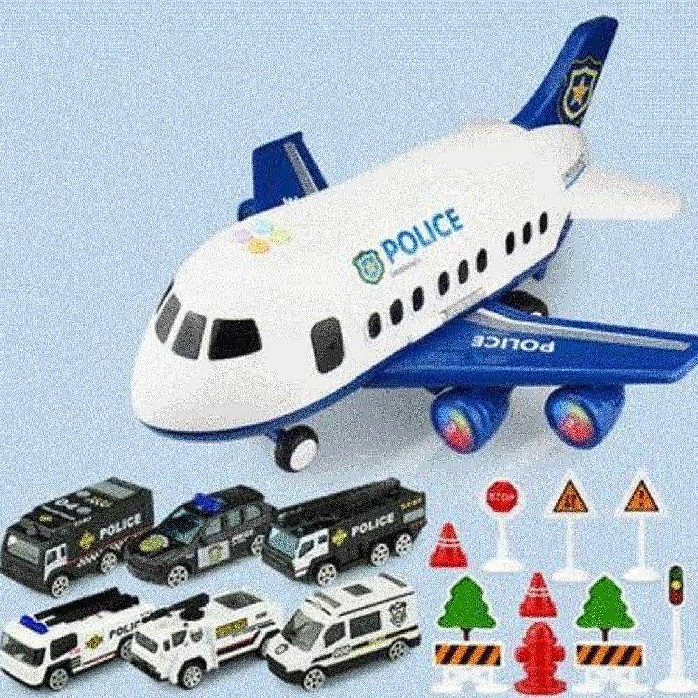 Zenghh Children's Toys Large Aircraft Simulation Orbit Inertial Music Story Simulation Passenger Aircraft Flight Storage Vehicle Model Multiplayer Game (3 Themes, 18 Sets) ( Color : Blue ) by Zenghh