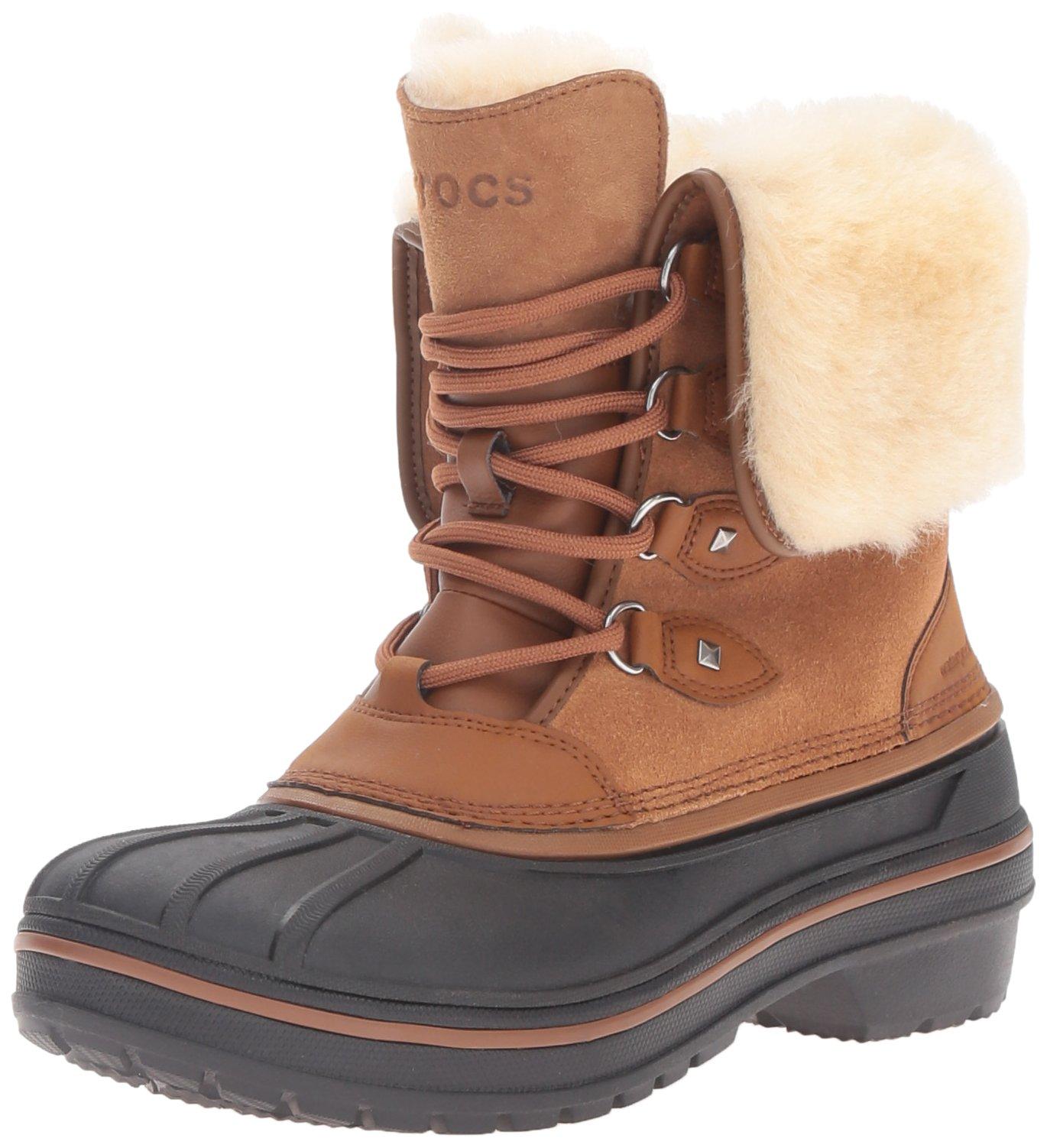 crocs Women's AllCast II Luxe Wheat Snow Boot, Wheat, 10 M US
