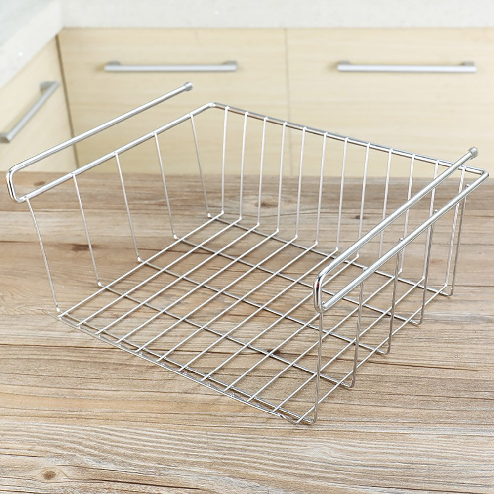 PM-Shelf Cabinet Hanging Basket Stainless Steel Nail-free Kitchen Bedroom Supplies