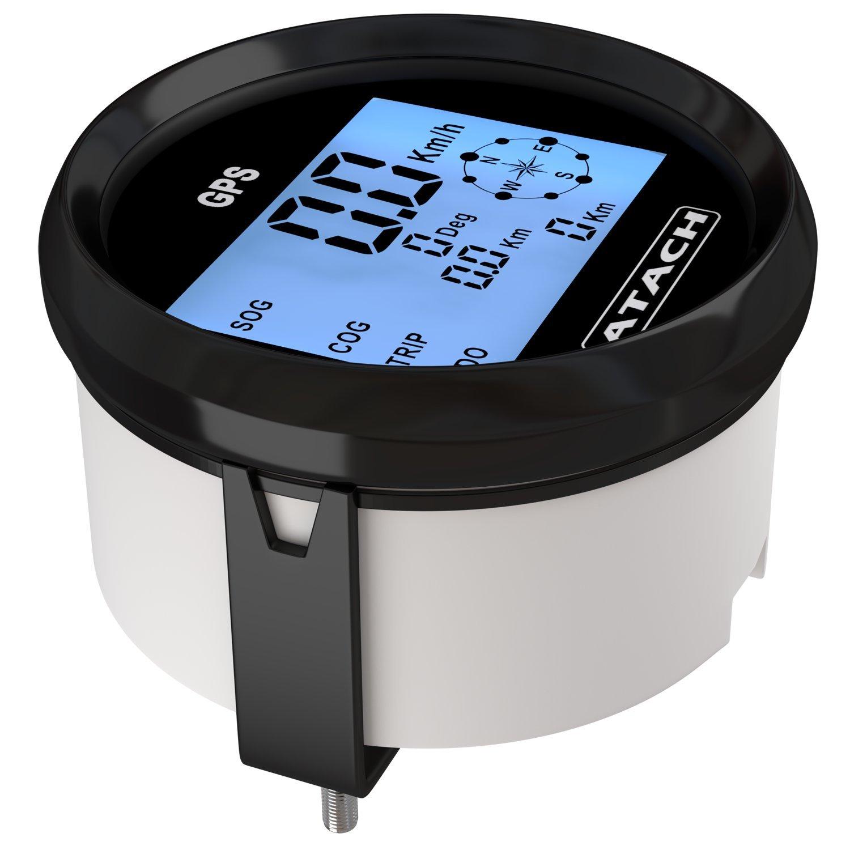 3-3//8 ATACH GPS speedometer gauge with high speed recall and blue backlight /… BLACK // BLACK BEZEL