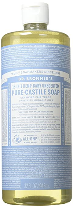 Dr. Bronner's Castile 18-in-1 Liquid Soap- Baby Unscented
