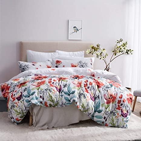 Leadtimes Twin Duvet Cover Set Kids Girls Floral Leaf White Bedding Set With 1 Boho Duvet Cover And 1 Pillowcase Twin Style2 Home Kitchen