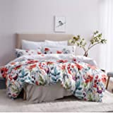 Leadtimes Twin Duvet Cover Set Kids Girls Floral Leaf White Bedding Set with 1 Boho Duvet Cover and 1 Pillowcase (Twin…