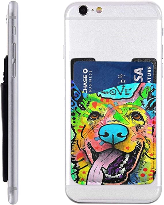 German Shepherd Dog Psychedelic Cell Phone Card Holder Sticker On Back of Phone, Id Card Credit Card Pocket Pouch Sleeves Cover