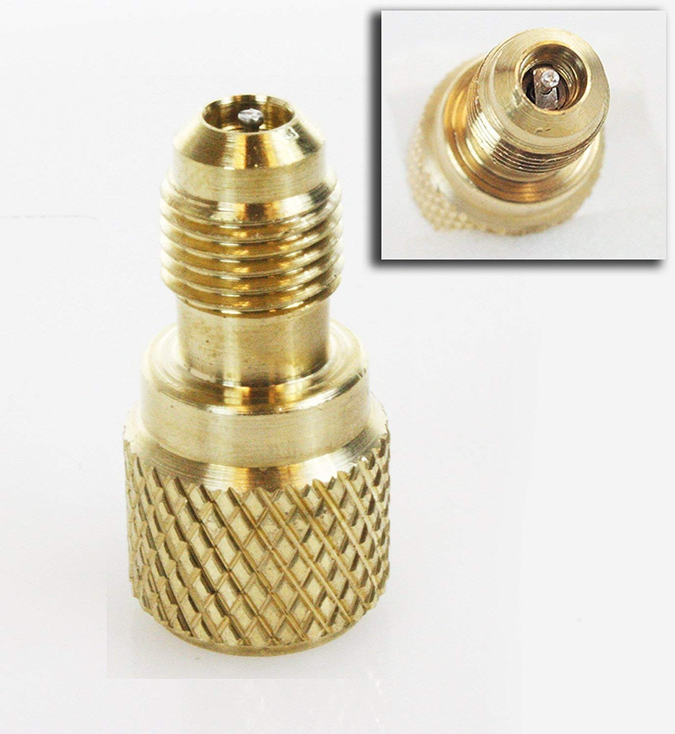 """ACME AC R134a Brass Adapter Freon Fitting 1/4"""" Male to 1/2"""" Female w/ valve core"""
