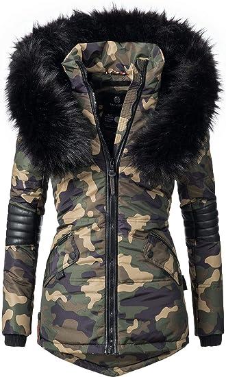 TALLA M. Navahoo Nirvana Chaqueta de Invierno para Mujer con Capucha de Pelo sintético Negro XS-XXL