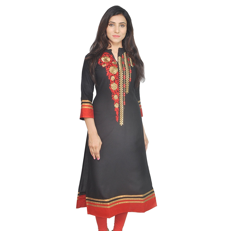 Chichi Indian Women Kurta Kurti 3/4 Sleeve Small Size Plain with Jaipuri Embroidered Black-Red Top