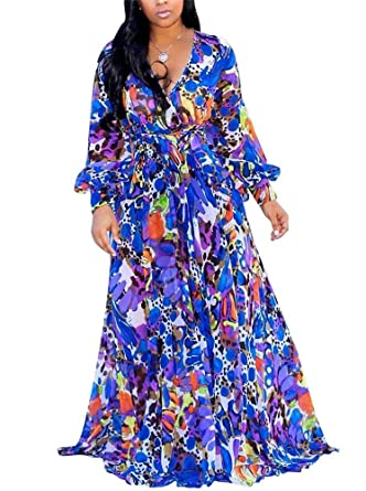 f8ff411f99a Hestenve Womens Long Sleeve Floral Maxi Dress Chiffon Lining Printed Sexy  Summer Dresses Plus Size,