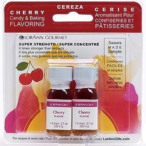 LorAnn Cherry Super Strength Flavor, 1 dram bottle (.0125 fl oz - 3.7ml) Twin pack blistered
