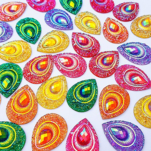 Sparkly Buttons Drop AB Color Sew On Crafts Rhinestones Flatback Beads Sewing For Costume Wedding Dress Decorations 18x25mm 50pcs (Mixed Color)