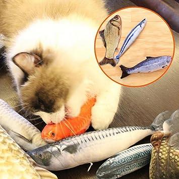 Huhuswwbin Juguetes interactivos para Gatos, Lindo Gato Menta Pescado Relleno Forma de pez Manta Almohada Mascota Gato Juguete rascador - Oro Arowana 30 cm: ...