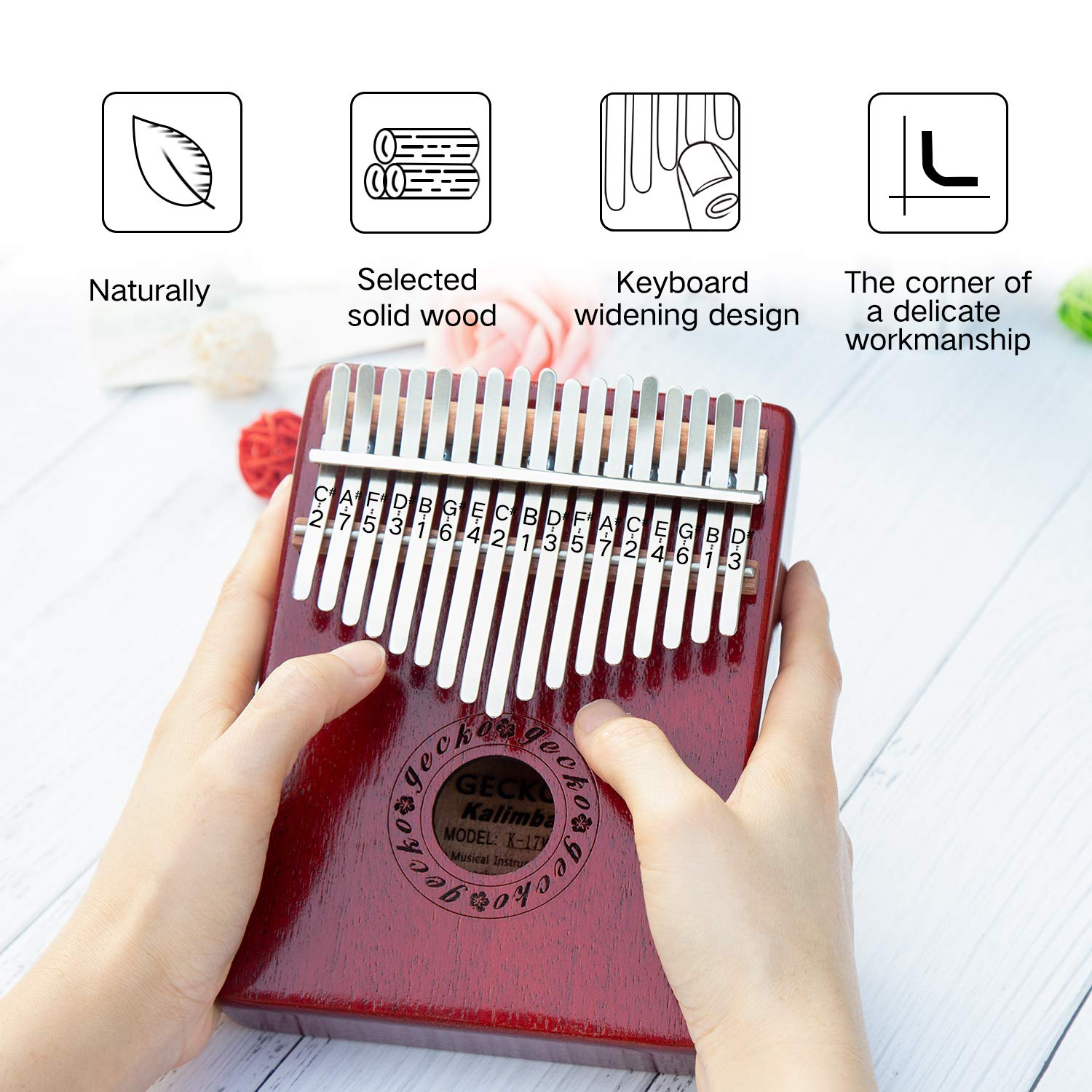 GECKO Kalimba 17 Keys Wide Key Thumb Piano builts-in EVA high-Performance Protective Box, Tuning Hammer and Study Instruction.K17MA by GECKO (Image #6)