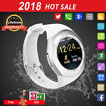 Smartwatch con whatsapp,Bluetooth smart watch Pantalla táctil,Reloj inteligente hombre,impermeable Smartwatches Compatible Android IOS iphone X 8 7 6 5 Plus ...