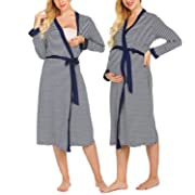 Skylin Women Loose Striped Print Cardigan Pregnant Nursing Robe Nightgown (Navy Blue, Small)